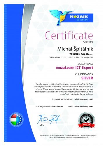 certifikát Silver MozaLearn ICT Expert pro sw MozaBook